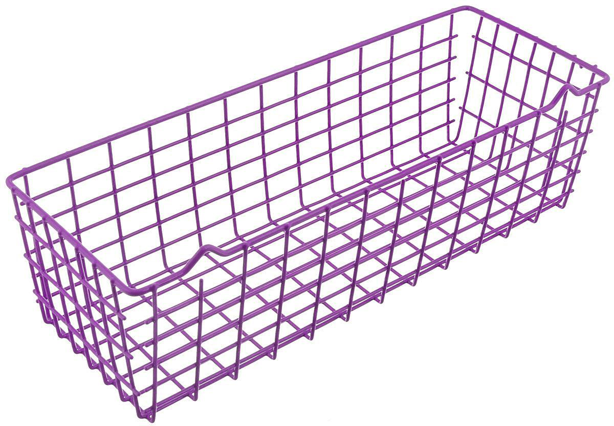 Корзина универсальная Metaltex Pandino, цвет: фиолетовый, 33 х 12 х 9 см36.17.00/94-528_фиолУниверсальная корзина Metaltex Pandino изготовлена из стали, покрытой краской с эпоксидным порошком. Изделие может использоваться для хранения принадлежностей для мытья посуды, различных бытовых предметов и мелочей, инструментов в гараже и много другого. Корзина оснащена специальными петельками для подвешивания к стене.