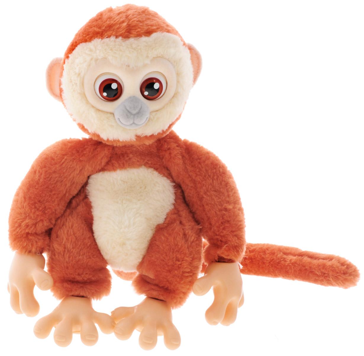 Emotion Pets Интерактивная игрушка Обезьяна цвет коричневый кремовый2063776_коричневый, кремовыйИнтерактивная игрушка Emotion Pets Обезьяна непременно понравится вашему малышу и станет его лучшим другом! Трогательная обезьянка покрыта искусственных мехом, она невероятно мягкая и приятная на ощупь. Чтобы поиграть с веселой обезьянкой, переведите выключатель в спинке игрушки в режим ON - обезьянка проснется, подвигает хвостом и издаст милые звуки! Чтобы покормить обезьянку, поднесите пищу ко рту игрушки, и вы услышите, как она жует. После еды она поблагодарит вас, двигая хвостом и издавая счастливые звуки. Если она не хочет есть, она издаст разочарованный звук. Обезьянка очень любит обниматься. Благодаря своим специальным хватательным ручкам, она может держаться на чем угодно. Если вы погладите обезьянку по голове или по животику, она издаст счастливые звуки и будет двигать хвостом. Игрушка переходит в спящий режим, если вы не будете играть с ней в течение 60 секунд. Чтобы уложить питомца спать, необходимо подвесить его за хвост вниз ...