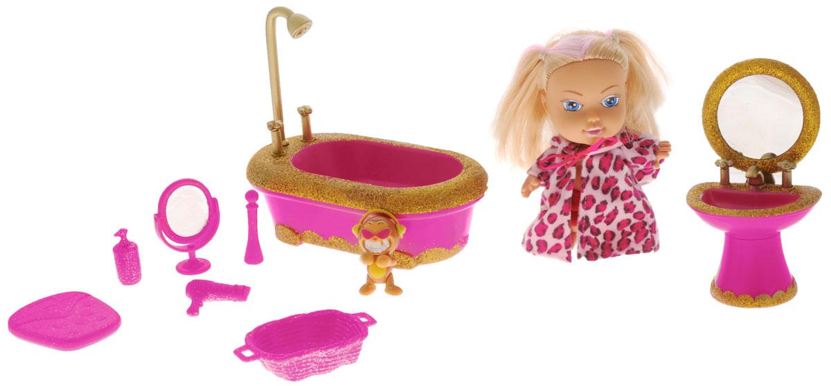 Simba Игровой набор с куклой Baby Starz цвет малиновый5034035_малиновыйСтильная малышка Baby Starz готова принять ванну. Для этого у нее есть шикарные и гламурные аксессуары, украшенные блестками. На кукле яркий халатик с капюшоном на завязочках, который легко можно снять и малиновые шортики. В комплекте также есть питомец куколки. Среди аксессуаров не только сама ванна с душем, но и умывальник с зеркальцем. Куклы, пожалуй, самые популярные игрушки в мире. Девочки обожают играть с ними, отправляясь в сказочную страну грез. Порадуйте свою малышку таким великолепным подарком!
