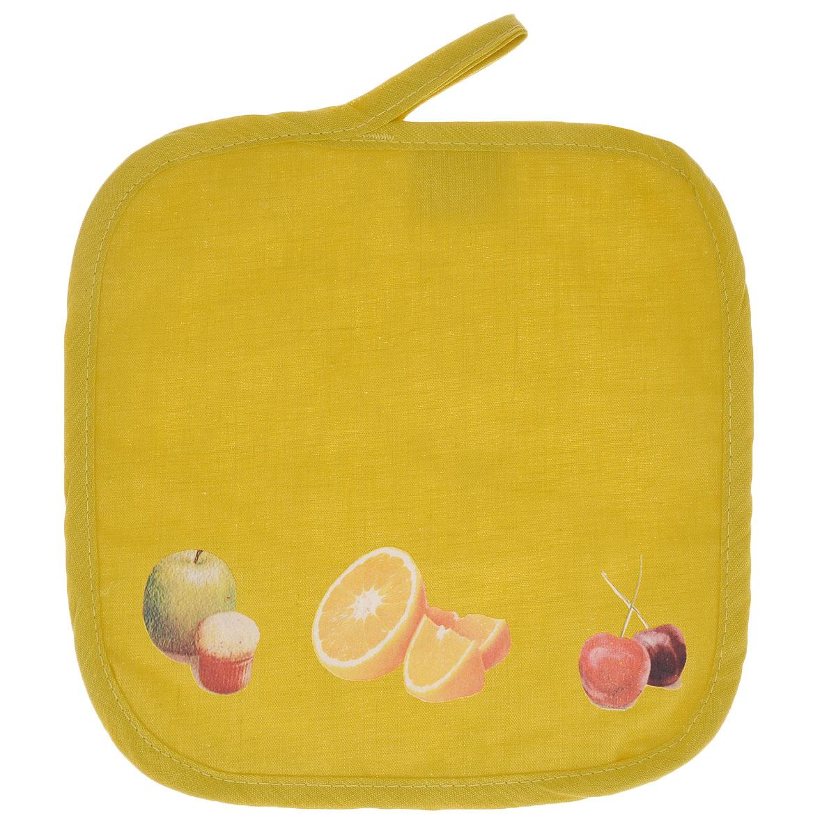 Прихватка Едим дома, цвет: желтый, 20 х 20 см2014-145Прихватка Едим дома, выполненная из хлопка и полиэстера, станет украшением любой кухни. Изделие защитит ваши руки от ожогов и воздействия высоких температур, а интересный дизайн разнообразит интерьер вашей кухни. С помощью специальной петельки, прихватку можно вешать на крючок. Отличный вариант для практичной и современной хозяйки.