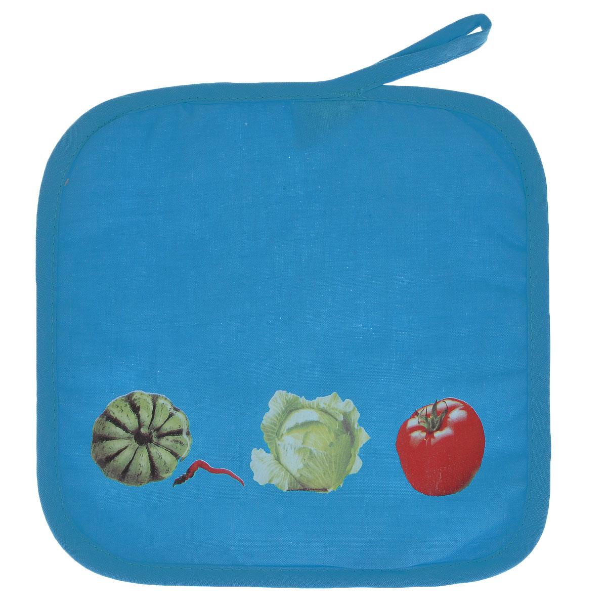 Прихватка Едим дома, цвет: голубой, 20 х 20 см2014-143Прихватка Едим дома, выполненная из хлопка и полиэстера, станет украшением любой кухни. Изделие защитит ваши руки от ожогов и воздействия высоких температур, а интересный дизайн разнообразит интерьер вашей кухни. С помощью специальной петельки, прихватку можно вешать на крючок. Отличный вариант для практичной и современной хозяйки.