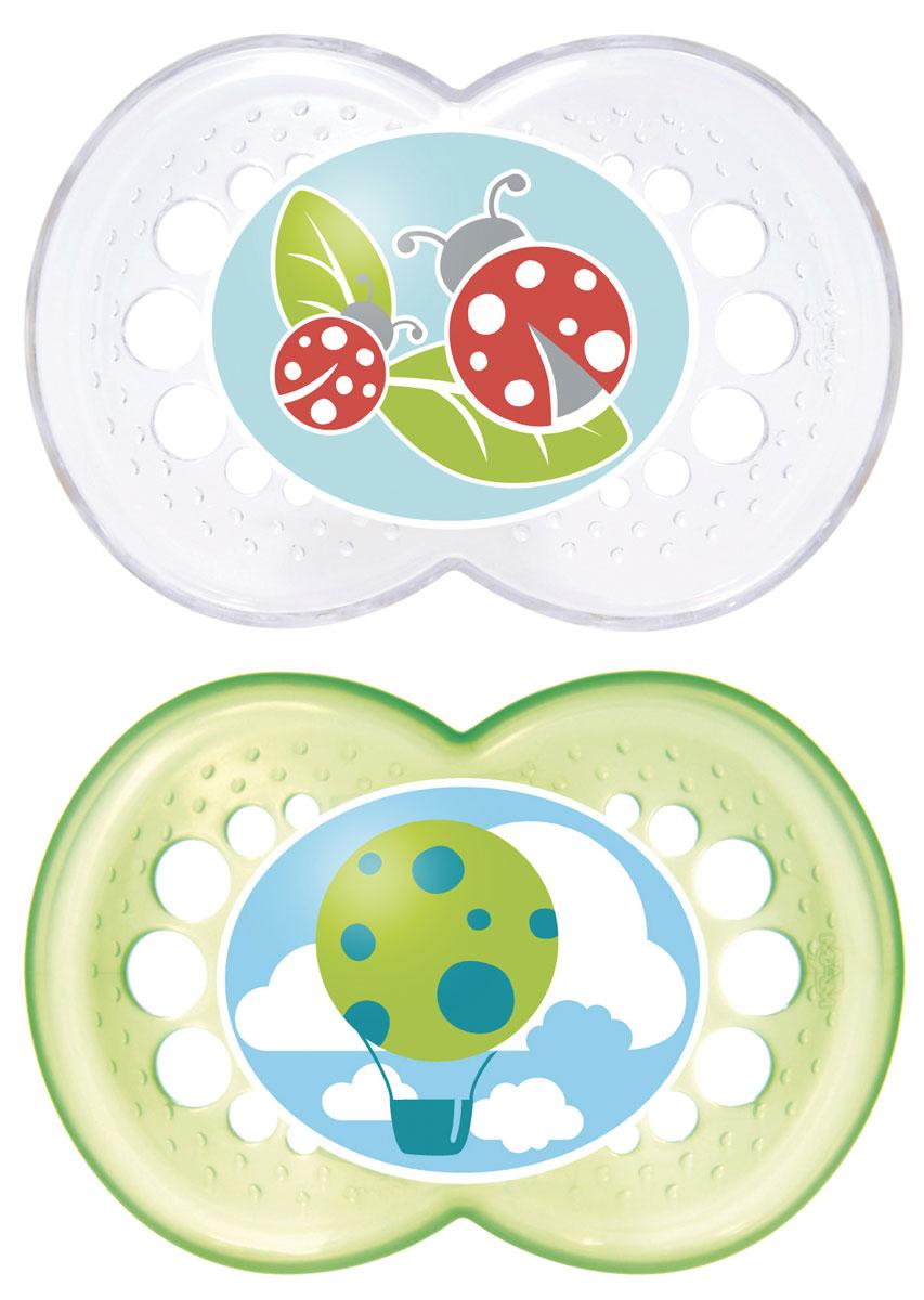 MAM пустышка Original от 6 до 16 месяцев 2 шт цвет зеленый прозрачный6036/7Легкая воздушная пустышка и приятным оформлением. Как и все остальные пустышки эта создана с учетом ортодонтических особенностей прикуса ребенка в возрасте от 6 месяцев