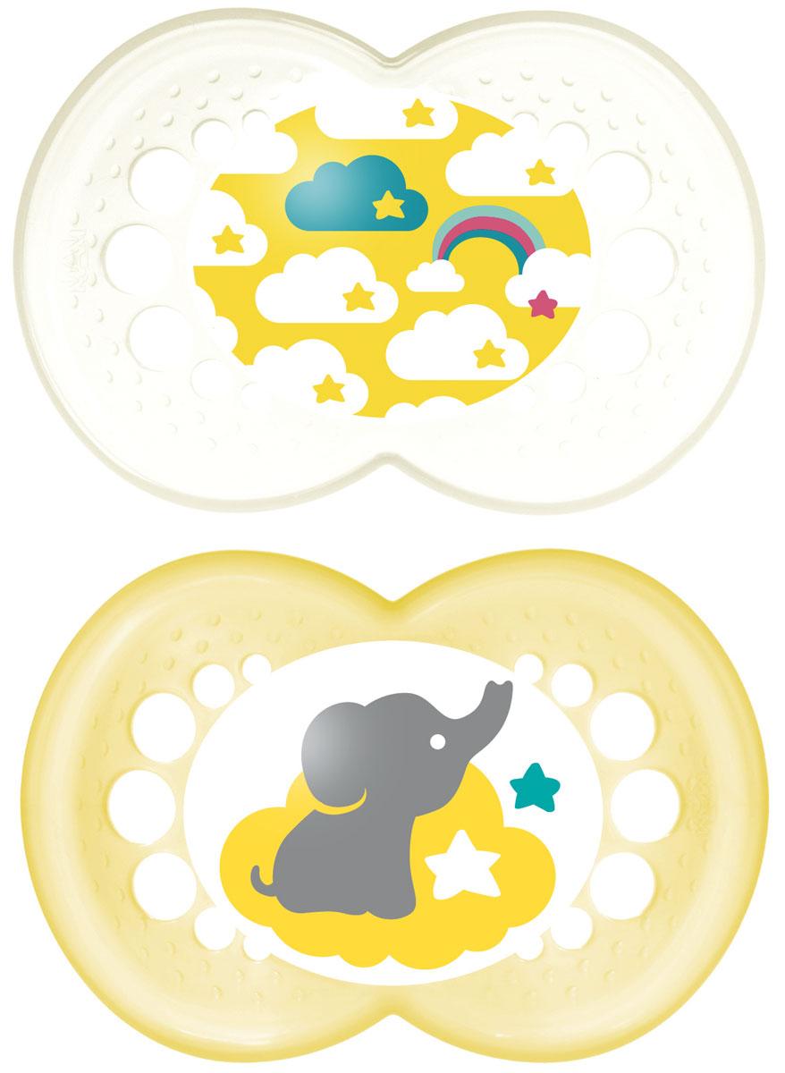 MAM пустышка Original от 6 до 16 месяцев 2 шт цвет желтый прозрачный6036/10Легкая воздушная пустышка и приятным оформлением. Как и все остальные пустышки эта создана с учетом ортодонтических особенностей прикуса ребенка в возрасте от 6 месяцев