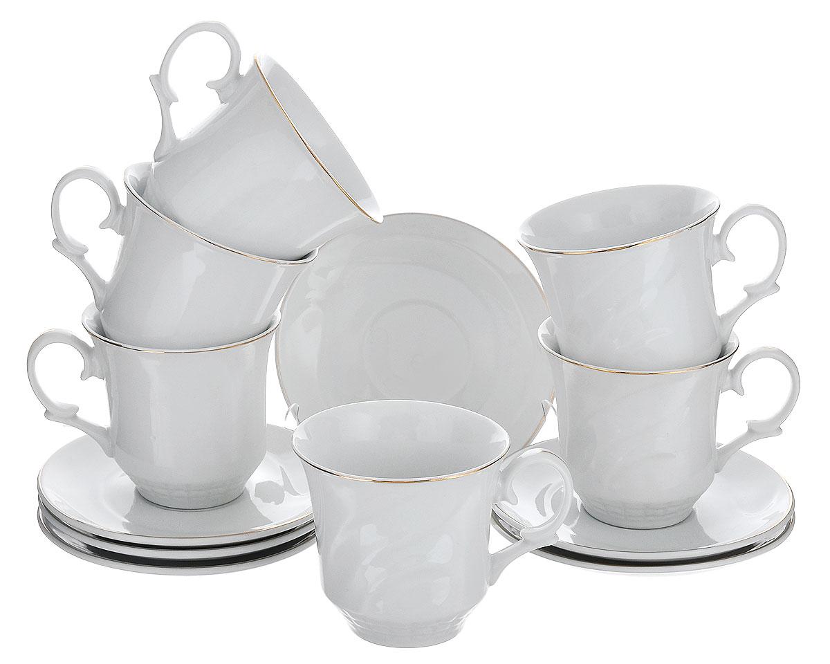 Чайный сервиз Loraine, 12 предметов. 2120921209Чайный сервиз Loraine состоит из 6 чашек и 6 блюдец. Изделия выполнены из высококачественной глазурованной керамики, украшены изящным рельефом и золотистой эмалью. Такой сервиз будет великолепно смотреться на столе, он отлично дополнит сервировку стола для чаепития и порадует вас изысканным дизайном и качеством исполнения. Сервиз упакован в подарочную картонную коробку, задрапированную белой атласной тканью. Крышка коробки украшена бантиком с белым камнем. Чайный сервиз Loraine станет хорошим подарком к любому случаю и порадует получателя. Объем чашки: 240 мл. Диаметр чашки (по верхнему краю): 9 см. Высота чашки: 8,5 см. Диаметр блюдца: 14 см.