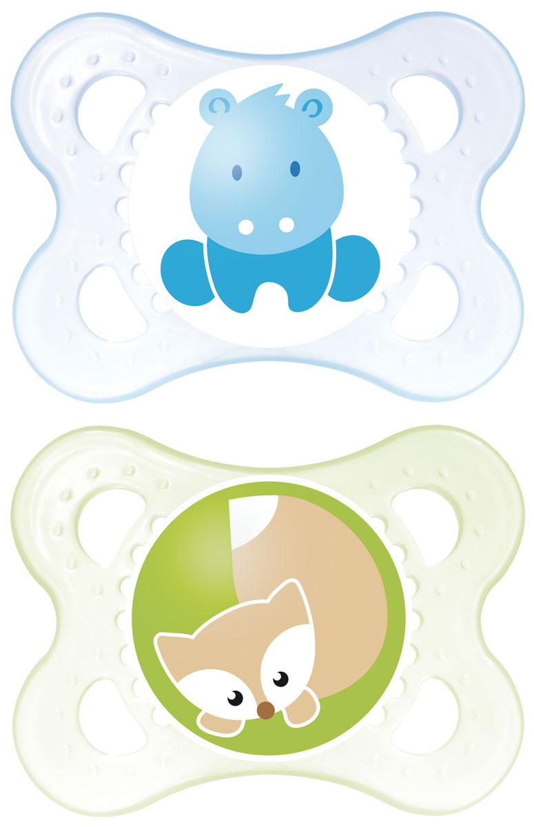 MAM Пустышка латексная Original 0-6 месяцев цвет синий зеленый 2 шт6038/6Симметричность соска этой пустышки поможет предотвратить неправильный прикус молочных зубов младенца, а форма защитной пластины позволит обеспечить необходимую вентиляцию