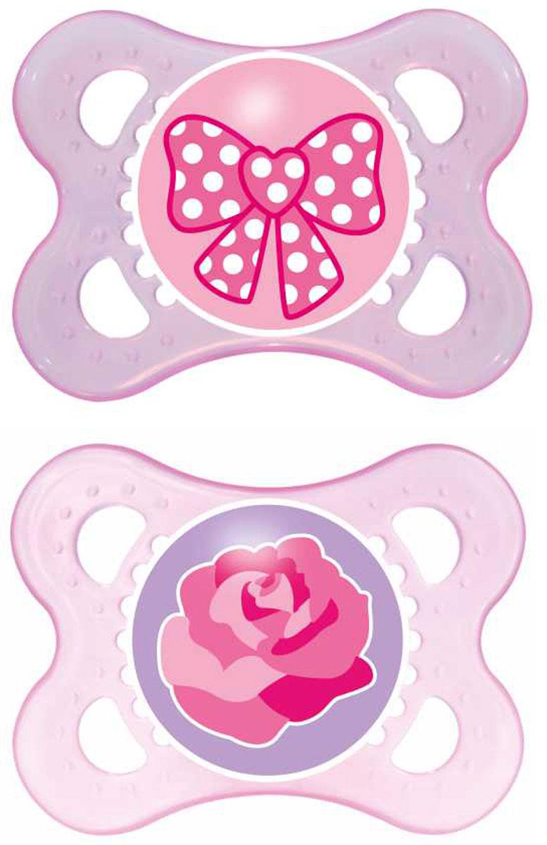 MAM Пустышка силиконовая Original 0-6 месяцев цвет розовый фиолетовый 2 шт6039/1Симметричность соска этой пустышки из силикона поможет предотвратить неправильный прикус молочных зубов младенца, а форма защитной пластины позволит обеспечить необходимую вентиляцию.