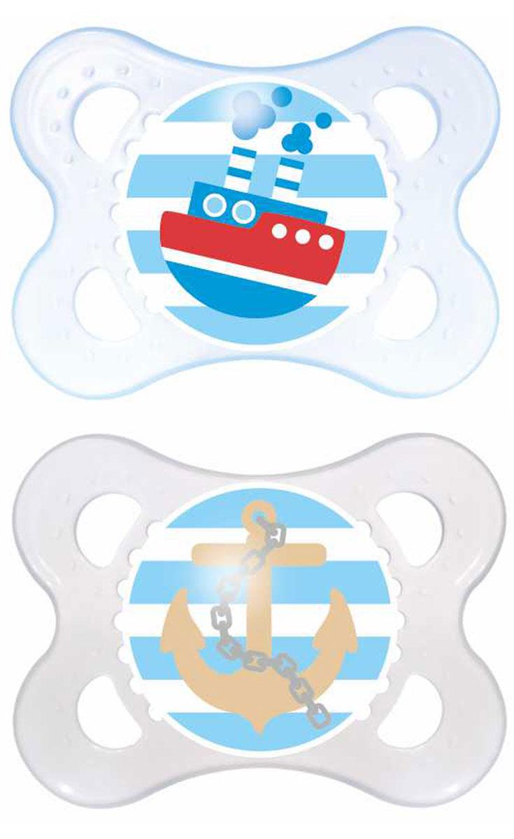 MAM Пустышка Original Кораблик от 0 до 6 месяцев 2 шт цвет синий прозрачный6039/2