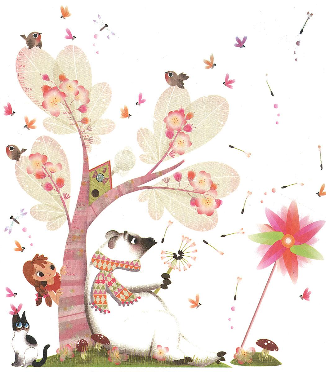 Janod Детский стикер-ростомер на стену Летний бризJ02814Детский ростомер Летний бриз станет полезным и привлекательным украшением детской комнаты для вашего ребенка. Основой композиции является большое волшебное дерево, под которым сидит белый мишка. Судя по его позе, он погружен в какие-то сладкие грезы. Он дует на пушистый одуванчик и мечтательно наблюдает, как улетают белые невесомые парашютики. Девочка, которая выглядывает из-за дерева, с интересом подсматривает за медведем. На основную картину можно нанести дополнительные маленькие стикеры: птички, стрекозы, мотыльки, кошка, грибок на пригорке, парашютики одуванчика. Их можно приклеить на любое место на основном фоне. Ростомер стикер на стену Летний бриз превосходно украсит комнату и станет замечательным подарком для любой девочки от 3 лет. Он обязательно заинтересует маленькую мечтательницу и будет интересен ребенку долгое время. Красивая и оригинальная упаковка с ручкой для переноски, станет завершающим, но не маловажным, штрихом. Еще яркими наклейками можно...
