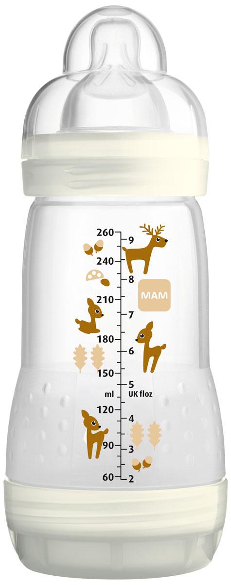 MAM Бутылочка для кормления Anti-Colic Eco 260 мл цвет бежевый6246/1Anti-Colic - идеальные бутылки для малышей с первого дня кормления. Ее нижний клапан гарантирует, что младенцы могут спокойно и расслабленно пить содержимое. Питание с помощью этих видов бутылочек уменьшает риск возникновения кишечных колик на 80% , т.к. сокращается количество воздуха, который заглатывает ребнок при кормлении (согласно исследованиям 2009 года, испытания были проведены с кормящими матерьми). Новое свойство - самостерилизация (конструкция бутылочки позволяет эффективно стерилизовать ее с помощью микроволновой печи)