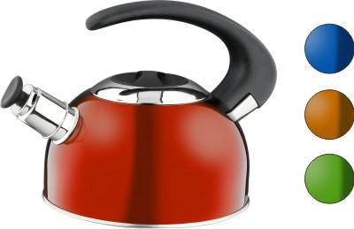 Чайник Calve, со свистком, цвет: красный, 1,8 лCL-1459_красныйЧайник Calve изготовлен из высококачественной нержавеющей стали с термоаккумулирующим дном. Нержавеющая сталь обладает высокой устойчивостью к коррозии, не вступает в реакцию с холодными и горячими продуктами и полностью сохраняет их вкусовые качества. Особая конструкция дна способствует высокой теплопроводности и равномерному распределению тепла. Чайник оснащен бакелитовой удобной ручкой. Носик чайника имеет откидной свисток, звуковой сигнал которого подскажет, когда закипит вода. Подходит для всех типов плит, включая индукционные. Можно мыть в посудомоечной машине. Диаметр чайника (по верхнему краю): 10,5 см. Высота чайника (без учета ручки и крышки): 10 см. Высота чайника (с учетом ручки): 18 см.
