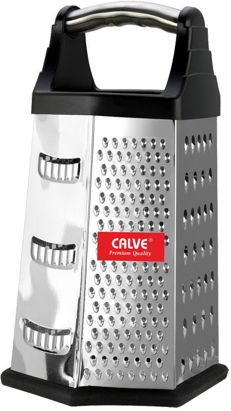 Терка шестигранная Calve, цвет: черный, стальной, высота 22,5 смCL-4160Шестигранная терка Calve, выполненная из высококачественной нержавеющей стали с зеркальной полировкой, станет незаменимым атрибутом приготовления пищи. Сверху на терке расположена удобная ручка. Терка замечательна для простого и быстрого измельчения и нарезки продуктов на ломтики. На одном изделии представлены шесть видов терок - крупная, мелкая, терка для овощных пюре, фигурная, шинковка и шинковка фигурная. Нескользящий силиконовый протектор на основании предотвращает скольжение во время использования и защищает поверхность от повреждений. Современный стильный дизайн позволит терке занять достойное место на вашей кухне. Можно мыть в посудомоечной машине.