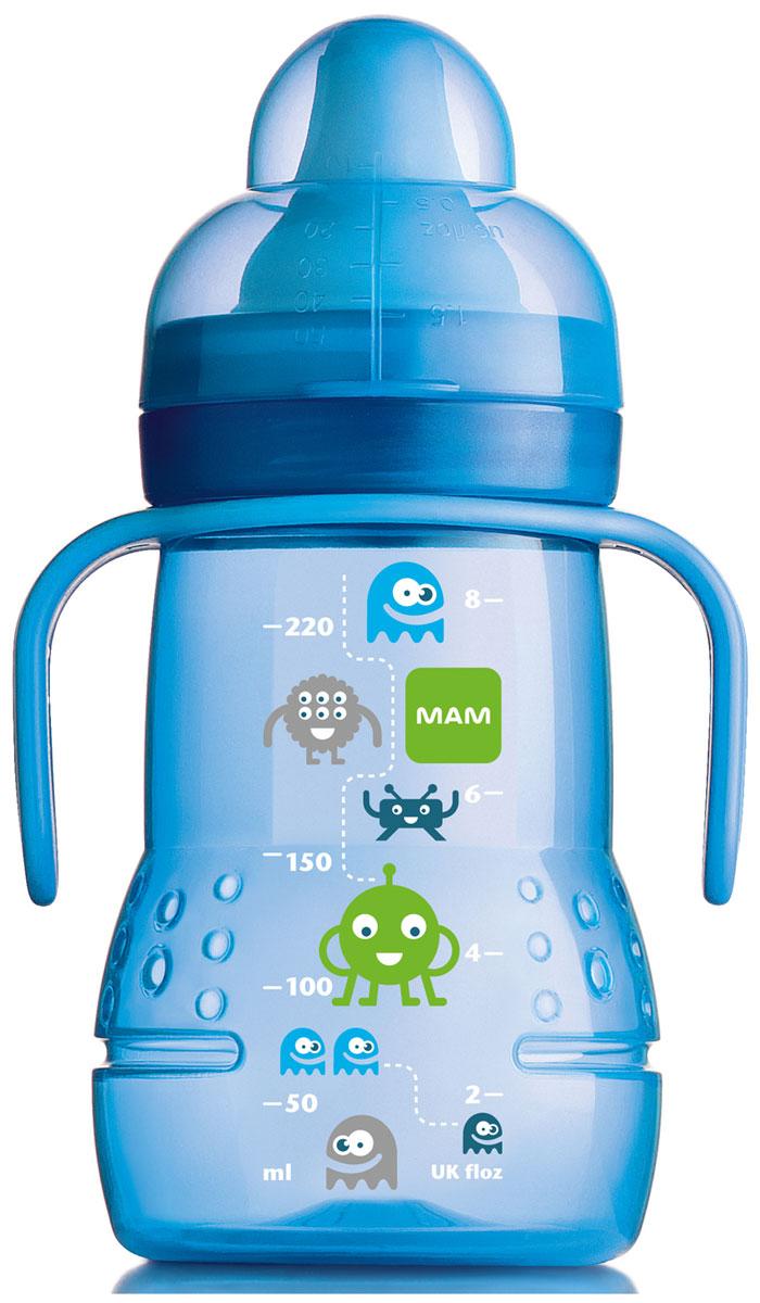 MAM Поильник Trainer 220 мл цвет голубой6567/3Поильник удобной формы, система-непроливайка, для упрощения перехода привыкания ребенка от бутылки к чашке.