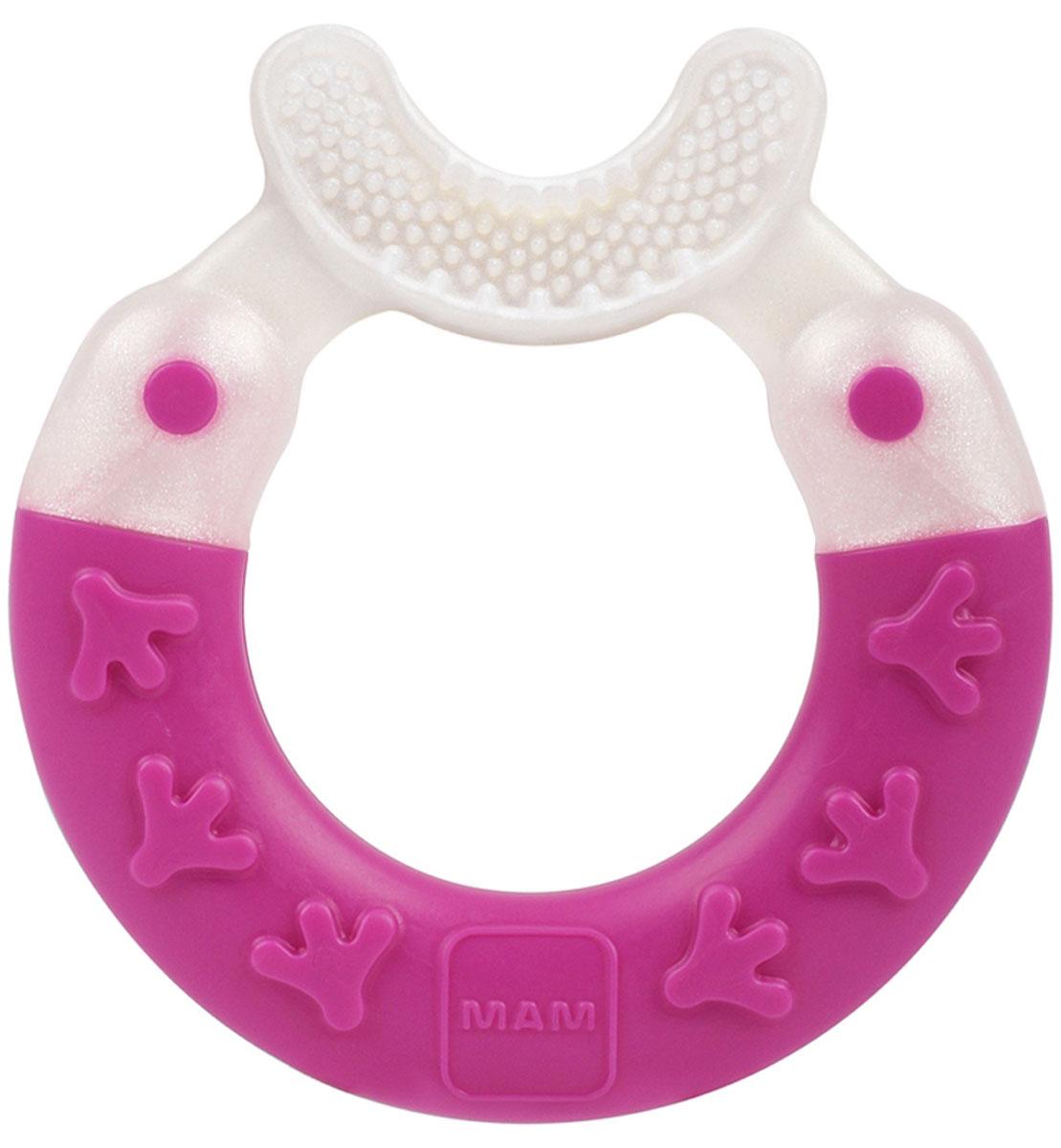 МАМ Прорезыватель Bite & Brush teether цвет бело-розовый
