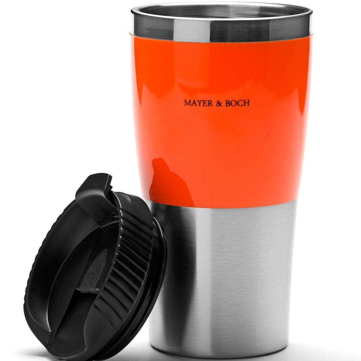 Кружка-термос Mayer & Boch, цвет: оранжевый, черный, 450 мл25408Термокружка Mayer & Boch изготовлена из нержавеющей стали и термостойкого пластика с двойными стенками, которые защищают руки от высоких температур и позволяют сохранять тепло напитка 1,5 часа. Надежная закручивающаяся крышка с защитой от проливания обеспечит дополнительную безопасность. Крышка оснащена клапаном для питья. Оптимальный объем позволит взять с собой большую порцию горячего кофе или чая. Идеально подходит для холодных напитков. Такая кружка может быть использована во время отдыха, на работе, в путешествии, во время поездок в автомобиле. Материал: акрилонитрил. Высота кружки-термоса (с учетом крышки): 17,8 см. Диаметр основания кружки-термоса: 6,5 см. Диаметр горлышка: 8,3 см.