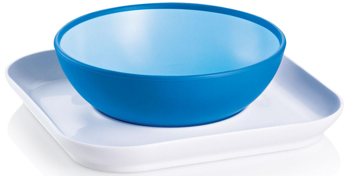 МАМ Набор посуды для кормления Babys bowl & plate цвет голубой6609EXP/2Обучение шаг за шагом: 1-й шаг: плоская тарелка удерживает глубокую тарелку от опрокидывания. 2-й шаг: плоская тарелка используется уже в качестве самостоятельного блюда для еду. Противоскользящее покрытие тарелки позволит сделать процесс питания простым и интересным.