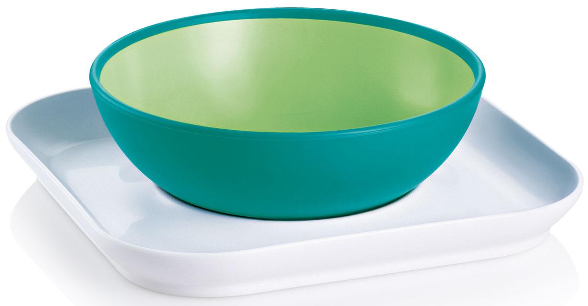 МАМ Набор посуды для кормления Babys bowl & plate цвет зеленый6609EXP/3Обучение шаг за шагом: 1-й шаг: плоская тарелка удерживает глубокую тарелку от опрокидывания. 2-й шаг: плоская тарелка используется уже в качестве самостоятельного блюда для еду. Противоскользящее покрытие тарелки позволит сделать процесс питания простым и интересным.