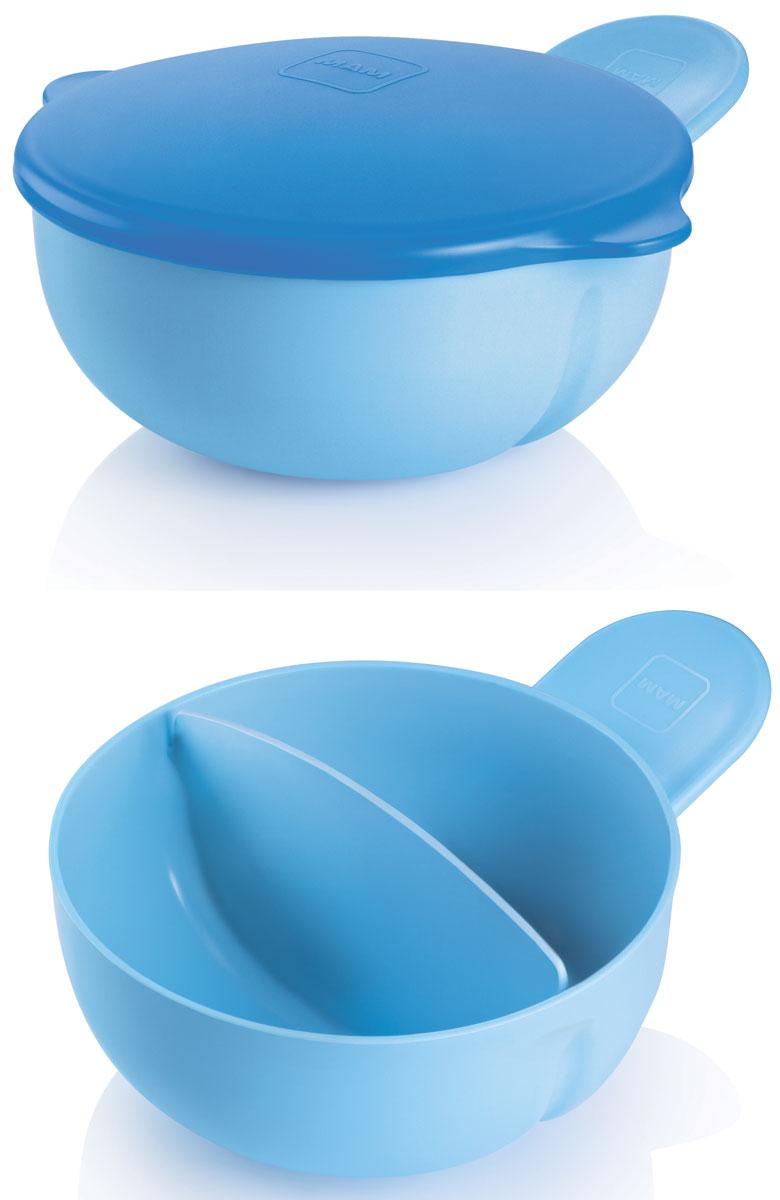 MAM Тарелка детская с крышкой цвет голубой