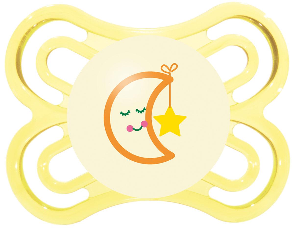 МАМ Пустышка Perfect Night Месяц цвет желтый от 0 до 6 месяцев