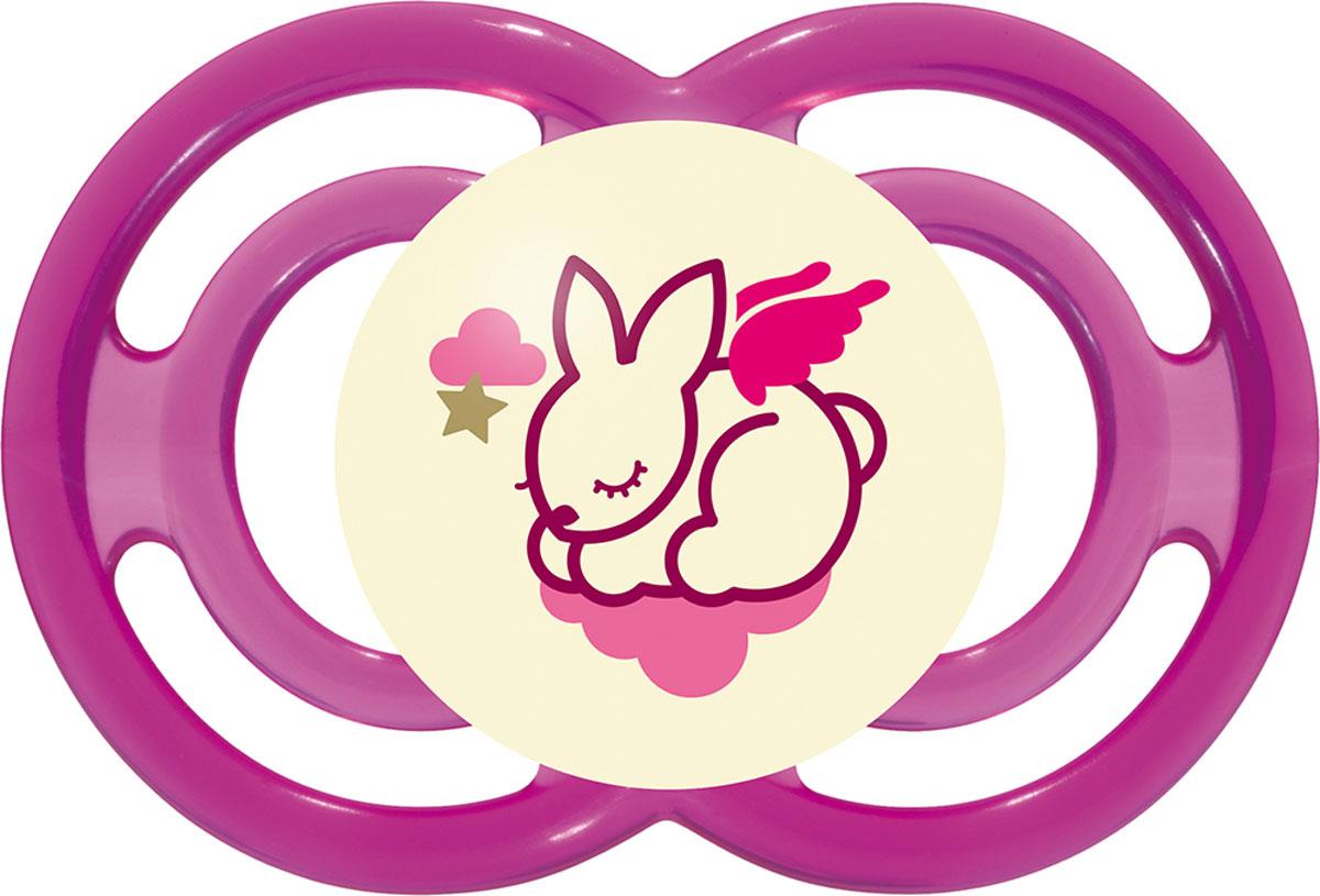 МАМ Пустышка Perfect Night Зайчик цвет розовый от 6 месяцев