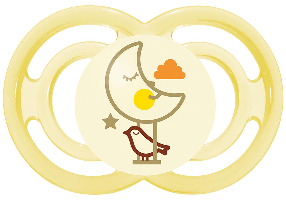МАМ Пустышка Perfect Night Месяц цвет желтый от 6 месяцев