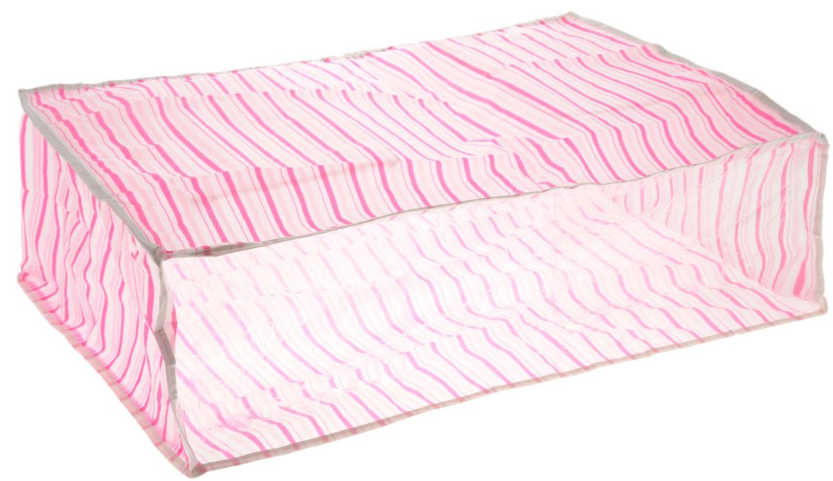 Чехол для хранения Eva, цвет: розовый, белый, 60 см х 40 см х 20 смЕ-5201_розовый, белыйУдобный чехол на застежке-молнии Eva изготовлен из прочного, водонепроницаемого, легкого в уходе материала PEVA. Он обеспечит надежное хранение вашей одежды и различных вещей, защитит от повреждений, пыли, грязи и UV- излучений во время хранения и транспортировки. Изделие оснащено прозрачной стенкой, благодаря которой вы без труда определите содержимое чехла. Изделие можно стирать при температуре до 40°C.