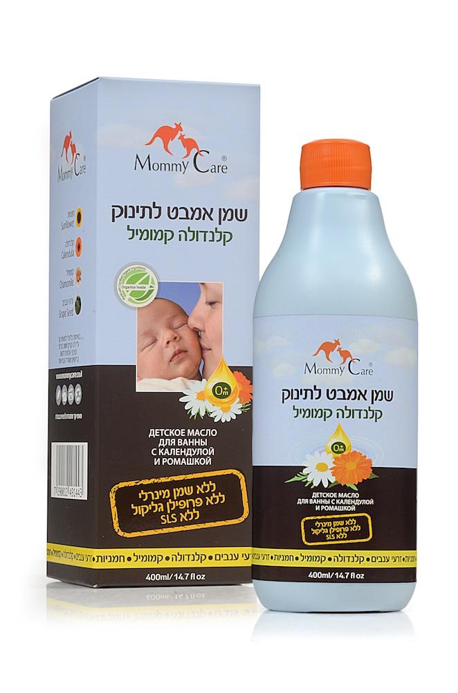 Mommy Care Детское масло для ванны с календулой и ромашкой 400 мл1443Тонкая чувствительная кожа новорожденного требует тщательного и нежного ухода. Специальное масло с календулой и ромашкой для детских ванночек Mommy Care способствует сохранению естественного баланса тонкой детской кожи и защищает ее от обезвоживания. Оно содержит только растительные органические масла: масло подсолнечника, календулы, ромашки и виноградных косточек, известные своими защитными, восстанавливающими и увлажняющими свойствами. Особая формула позволяет маслу равномерно распределяться в воде в виде мельчайших пузырьков, не образуя масляных пятен на поверхности воды. Ежедневное применение масла помогает предотвратить раздражения и покраснения кожи и справиться с имеющимися. Масло не содержит пропиленгликоля, минеральных масел, парабенов, а также синтетических отдушек и красителей. В составе масла отсутствуют арахисовое и соевое масла, которые могут вызывать аллергические реакции.