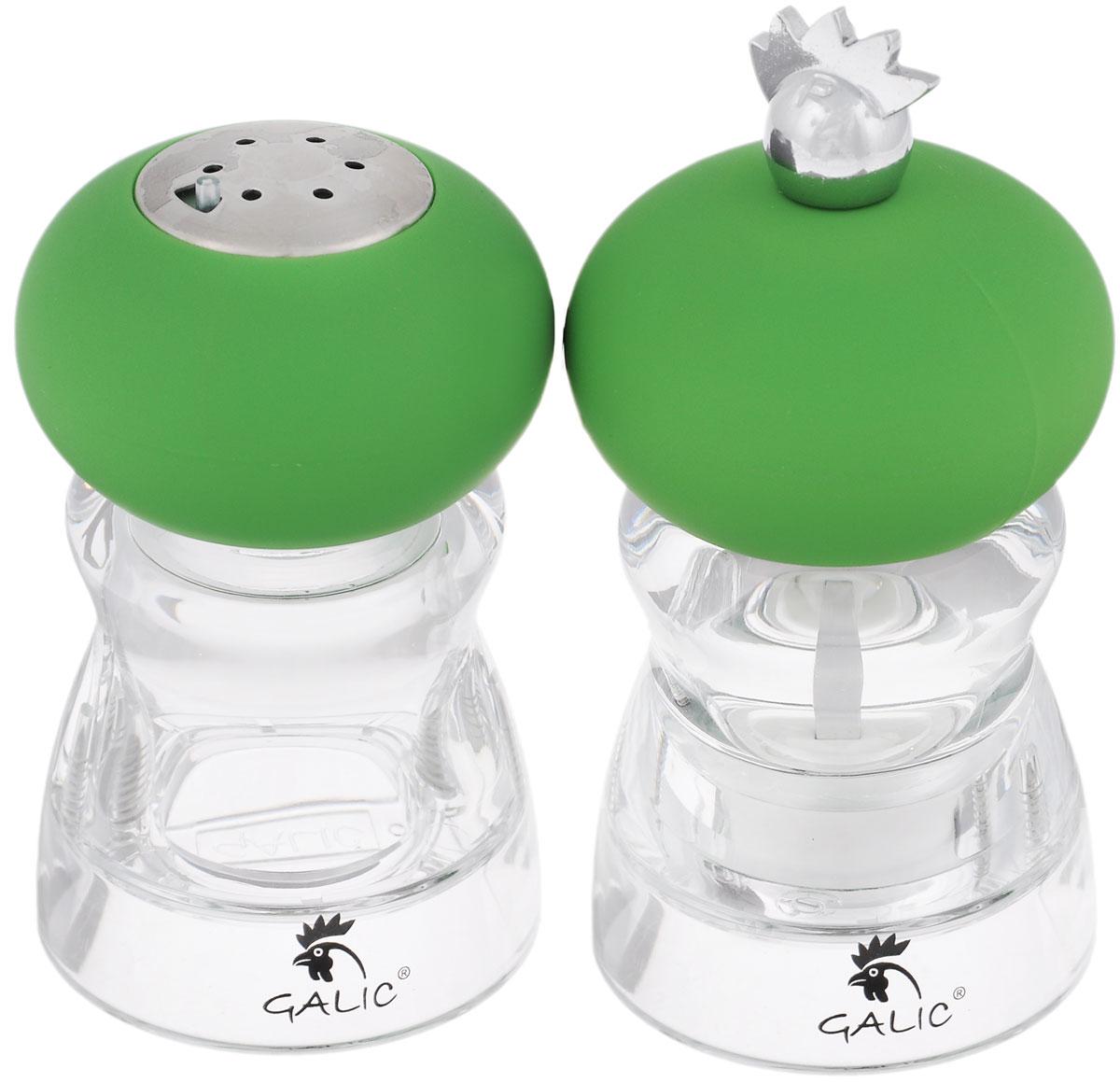 Набор для специй Galic Andrea, цвет: прозрачный, зеленый, 2 предметаAND-PMSS10Набор Galic Andrea состоит из солонки и мельницы для перца. Изделия выполнены из нержавеющей стали и пищевого пластика. Благодаря своим небольшим размерам набор не займет много места на вашей кухне. Емкость для соли легка в использовании: стоит только перевернуть, и вы с легкостью сможете добавить соль по вкусу в любое блюдо. Мельница для перца имеет ручной механизм перемола. Дизайн, эстетичность и функциональность набора Galic Andrea позволят ему стать достойным дополнением к кухонному инвентарю. Размер емкости: 5,5 см х 5,5 см х 10 см.
