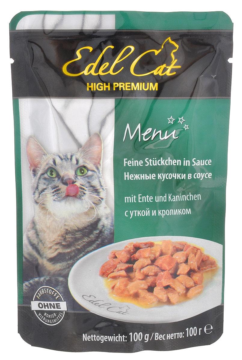Консервы для кошек Edel Cat, с уткой и кроликом в соусе, 100 г15145Консервы для кошек Edel Cat со вкусом кролика и утки - это аппетитные мясные кусочки в ароматном соусе. Не упустите возможность порадовать своего питомца этим угощением. Edel Cat - лакомство для кошек, изготовленное в Германии. В качестве основного ингредиента выступает свежее отборное мясо кролика и утки. Ни одна кошка не сможет устоять перед мясными ароматными кусочками в соусе. Edel Cat выделяется не только своими вкусовыми свойствами, но и полезностью. Например, стоит отметить, что в состав входит такой важный элемент, как клетчатка. Она укрепляет стенки пищевода и улучшает функционирование желудка. Edel Cat содержит также и таурин. Он оказывает положительное воздействие на регенерацию клеток, сердце и органы зрения. Кроме этого, в составе обнаруживается витаминный и минеральный комплексы, которые также хорошо сказываются на организме взрослых кошек. Состав: мясо и продукты животного происхождения (4% утка, 4% кролик), злаки, ...
