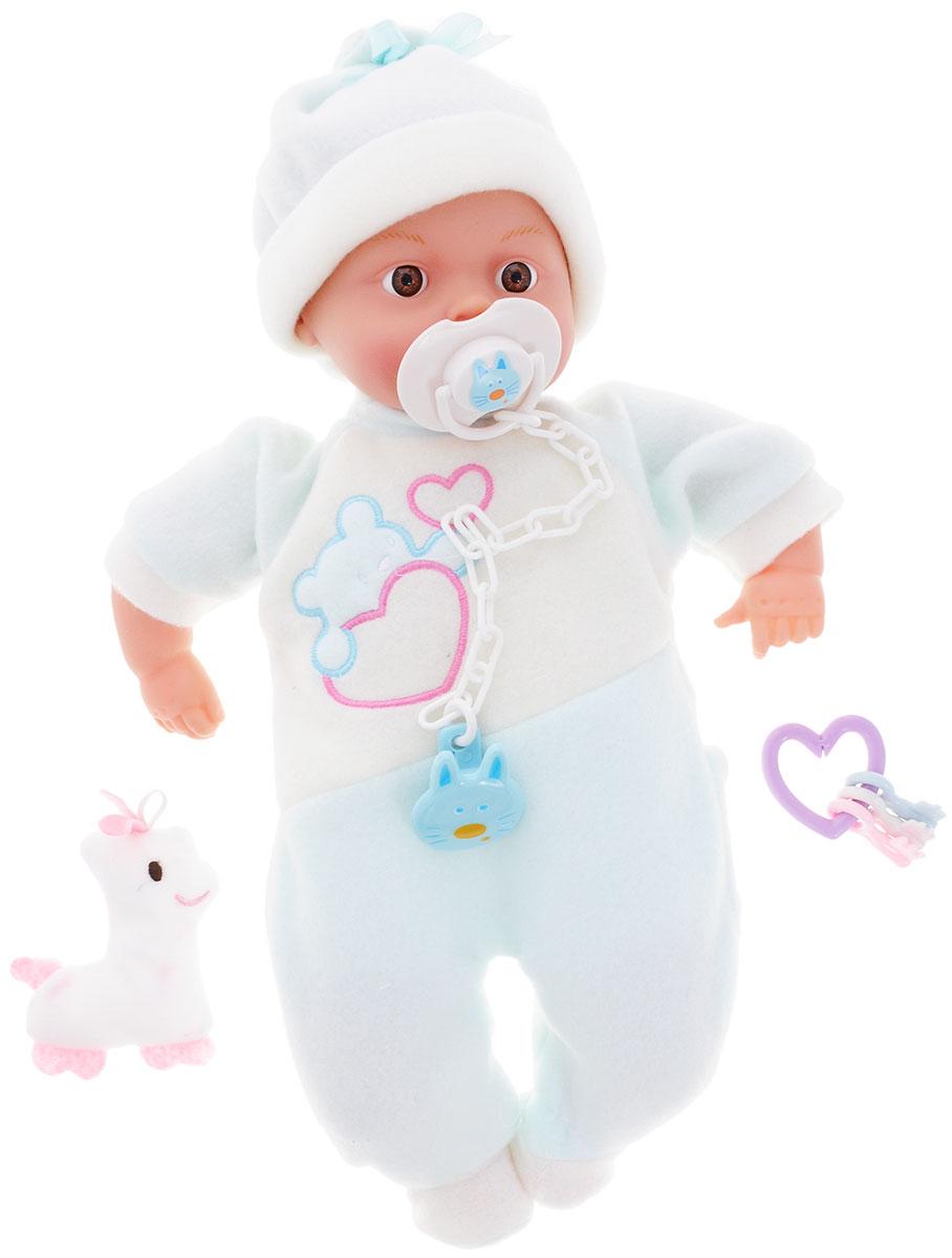 Ming Ming Пупс Baby Air цвет костюма белый голубойW03863_белый/голубойПупс Ming Ming Baby Air порадует вашу малышку и доставит ей много удовольствия от часов, посвященных игре с ним. Он выглядит как настоящий малыш. Пупс одет бело-голубой костюм и шапочку. В набор входят игрушка пупса, пустышка на клипсе и прорезыватели. Еще более интересной игру сделают звуковые эффекты, нужно просто нажать малышу на животик. Игра с куклой разовьет в вашей малышке чувство ответственности и заботы. Порадуйте свою принцессу таким великолепным подарком! Рекомендуется докупить 3 батарейки типа LR44 (товар комплектуется демонстрационными).