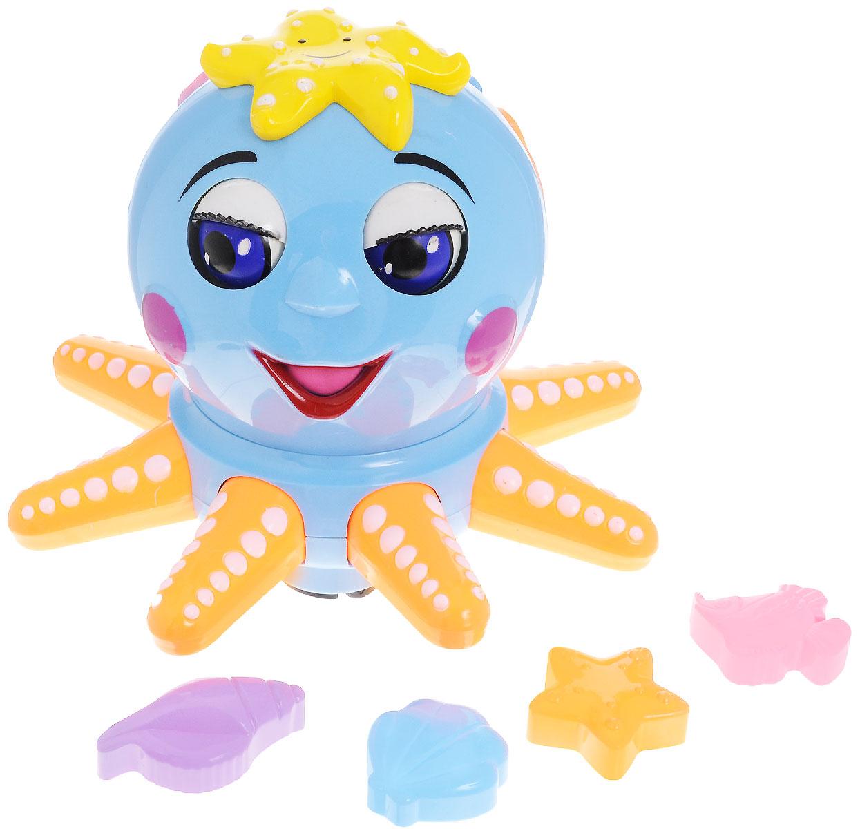 Tongde Сортер ОсьминожкаВ72133Сортер Tongde Осьминожка это веселое сочетание игры и развития для вашего малыша. Осьминожка двигает глазками, язычком и щупальцами, едет вперед и поворачивается. Движения сопровождаются музыкальными эффектами. На теле осьминожки есть фигурные отверстия, куда малыш сможет вставить соответствующие фигурки в виде морской звезды, ракушки и рыбки. Для работы игрушки необходимы 3 батарейки типа АА (не входят в комплект).