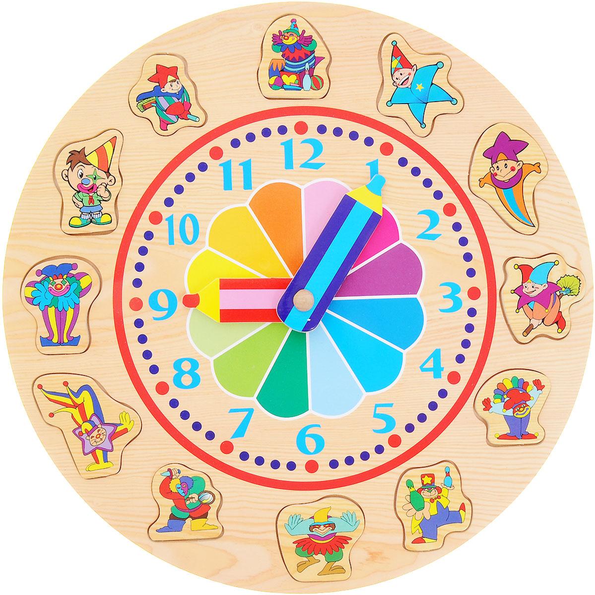 VGA Wooden Toys Пазл-часы РадугаD94Пазл-часы VGA Wooden Toys Радуга выполнен из экологически чистого материала - дерева. В процессе игры ребенок может поставить все фигурки клоунов на свои места, ориентируясь по силуэту. В центре часов расположен циферблат со стрелками-карандашами и радугой. Не содержит формальдегид.