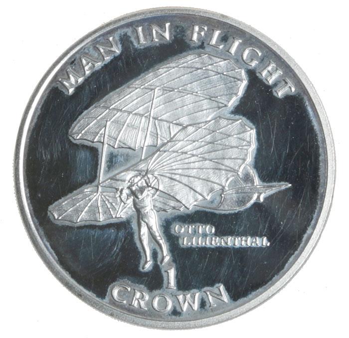 Монета номиналом 1 крона Человек в полете. Отто Лилиенталь. Остров Мэн. 1994 год739Диаметр: 3.7 см. Качество чеканки: Proof.