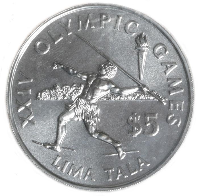 Монета номиналом 5 тала XXIV Олимпийские игры. Токелау. 1988 год739Диаметр: 3.8 см. Качество чеканки: UNC Тираж: 20000 экземпляров