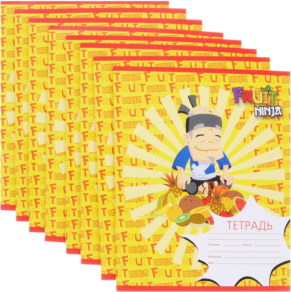 Action! Набор тетрадей Fruit Ninja 24 листа в клетку 8 шт цвет желтыйFN-AN 2402/5_ желтыйНабор тетрадей Fruit Ninja прекрасно подойдет для учащихся младших классов и средней школы. Внутренний блок каждой тетради состоит из 24 листов белой бумаги. Страницы размечены стандартной линовкой в голубую клетку и дополнены полями, совпадающими с лицевой и оборотной сторонами листа. Набор состоит из 8 тетрадей в обложках из картона высокой плотности.