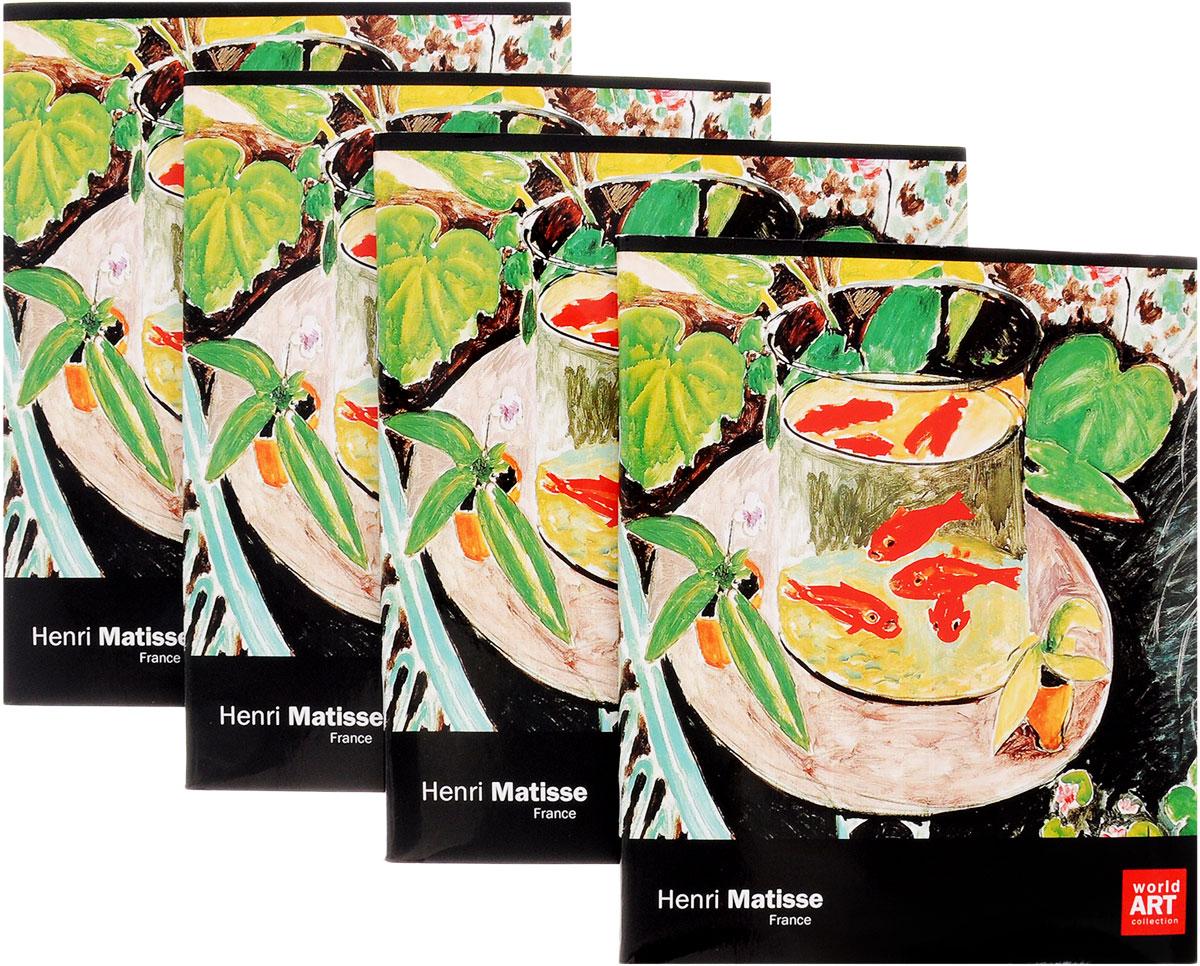 Action! Набор тетрадей Импрессионисты Анри Матисс 48 листов в клетку 4 шт