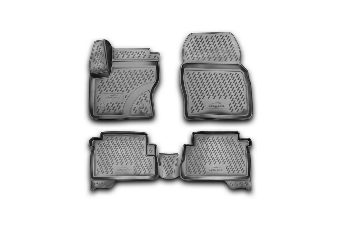 Набор автомобильных 3D-ковриков Novline-Autofamily для Ford Kuga, 2013->, в салон, 4 штCARFRD00009kНабор Novline-Autofamily состоит из 4 ковриков, изготовленных из полиуретана. Основная функция ковров - защита салона автомобиля от загрязнения и влаги. Это достигается за счет высоких бортов, перемычки на тоннель заднего ряда сидений, элементов формы и текстуры, свойств материала, а также запатентованной технологией 3D-перемычки в зоне отдыха ноги водителя, что обеспечивает дополнительную защиту, сохраняя салон автомобиля в первозданном виде. Материал, из которого сделаны коврики, обладает антискользящими свойствами. Для фиксации ковров в салоне автомобиля в комплекте с ними используются специальные крепежи. Форма передней части водительского ковра, уходящая под педаль акселератора, исключает нештатное заедание педалей. Набор подходит для Ford Kuga с 2013 года выпуска.