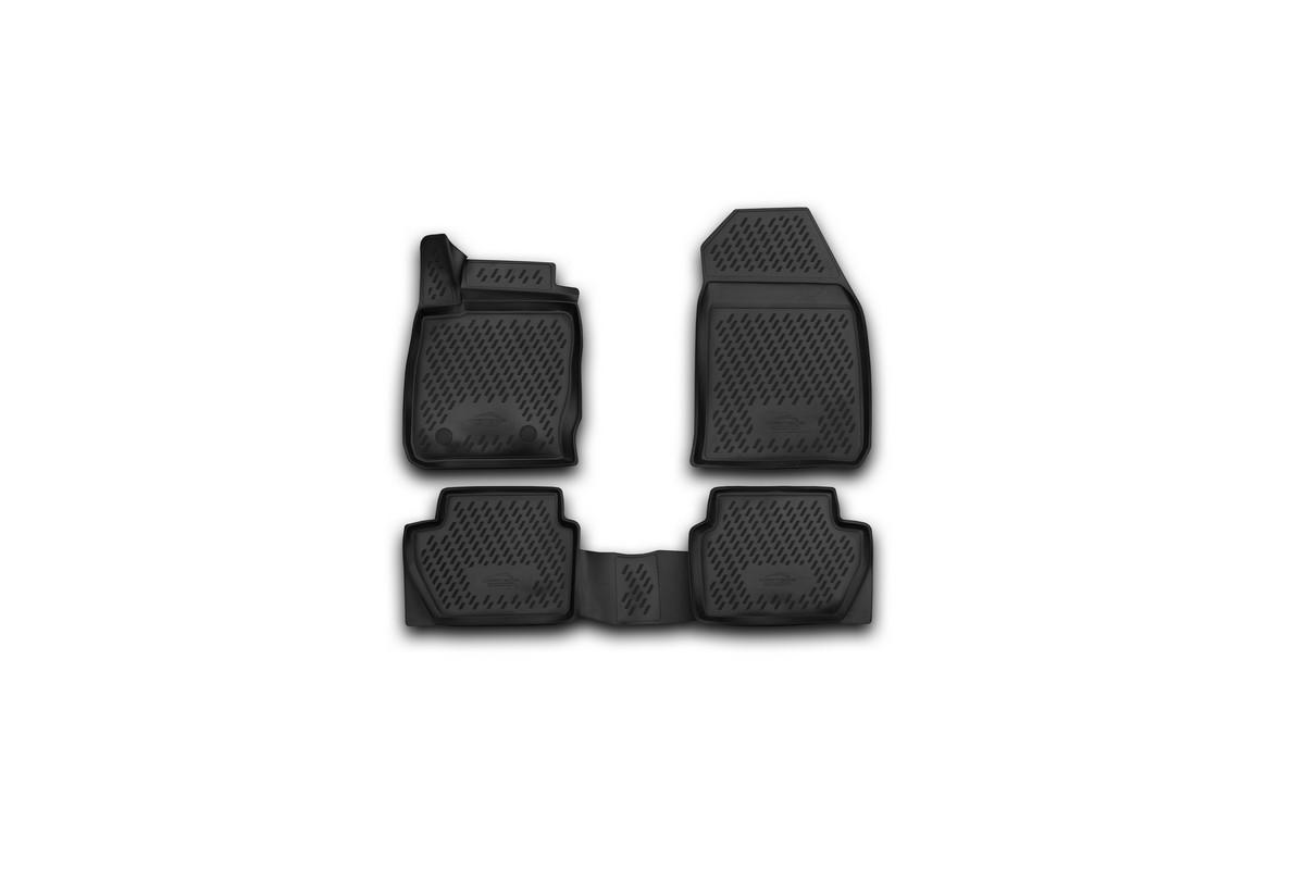 Набор автомобильных 3D-ковриков Novline-Autofamily для Ford EcoSport, 2014->, в салон, 4 штCARFRD00025kНабор Novline-Autofamily состоит из 4 ковриков, изготовленных из полиуретана. Основная функция ковров - защита салона автомобиля от загрязнения и влаги. Это достигается за счет высоких бортов, перемычки на тоннель заднего ряда сидений, элементов формы и текстуры, свойств материала, а также запатентованной технологией 3D-перемычки в зоне отдыха ноги водителя, что обеспечивает дополнительную защиту, сохраняя салон автомобиля в первозданном виде. Материал, из которого сделаны коврики, обладает антискользящими свойствами. Для фиксации ковров в салоне автомобиля в комплекте с ними используются специальные крепежи. Форма передней части водительского ковра, уходящая под педаль акселератора, исключает нештатное заедание педалей. Набор подходит для Ford EcoSport с 2014 года выпуска.