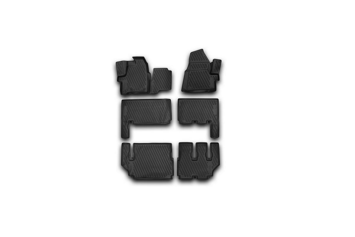 Набор автомобильных 3D-ковриков Novline-Autofamily для Ford Tourneo Custom, 2013->, в салон, 6 штCARFRD00029kНабор Novline-Autofamily состоит из 6 ковриков, изготовленных из полиуретана. Основная функция ковров - защита салона автомобиля от загрязнения и влаги. Это достигается за счет высоких бортов, перемычки на тоннель заднего ряда сидений, элементов формы и текстуры, свойств материала, а также запатентованной технологией 3D-перемычки в зоне отдыха ноги водителя, что обеспечивает дополнительную защиту, сохраняя салон автомобиля в первозданном виде. Материал, из которого сделаны коврики, обладает антискользящими свойствами. Для фиксации ковров в салоне автомобиля в комплекте с ними используются специальные крепежи. Форма передней части водительского ковра, уходящая под педаль акселератора, исключает нештатное заедание педалей. Набор подходит для Ford Tourneo Custom с 2013 года выпуска.