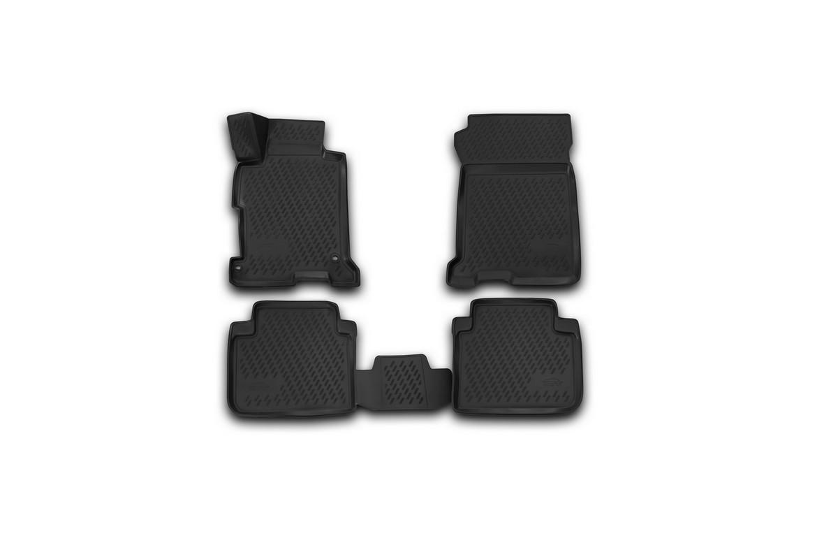 Набор автомобильных 3D-ковриков Novline-Autofamily для Honda Accord, 2013->, в салон, 4 штCARHND00005Набор Novline-Autofamily состоит из 4 ковриков, изготовленных из полиуретана. Основная функция ковров - защита салона автомобиля от загрязнения и влаги. Это достигается за счет высоких бортов, перемычки на тоннель заднего ряда сидений, элементов формы и текстуры, свойств материала, а также запатентованной технологией 3D-перемычки в зоне отдыха ноги водителя, что обеспечивает дополнительную защиту, сохраняя салон автомобиля в первозданном виде. Материал, из которого сделаны коврики, обладает антискользящими свойствами. Для фиксации ковров в салоне автомобиля в комплекте с ними используются специальные крепежи. Форма передней части водительского ковра, уходящая под педаль акселератора, исключает нештатное заедание педалей. Набор подходит для Honda Accord с 2013 года выпуска.