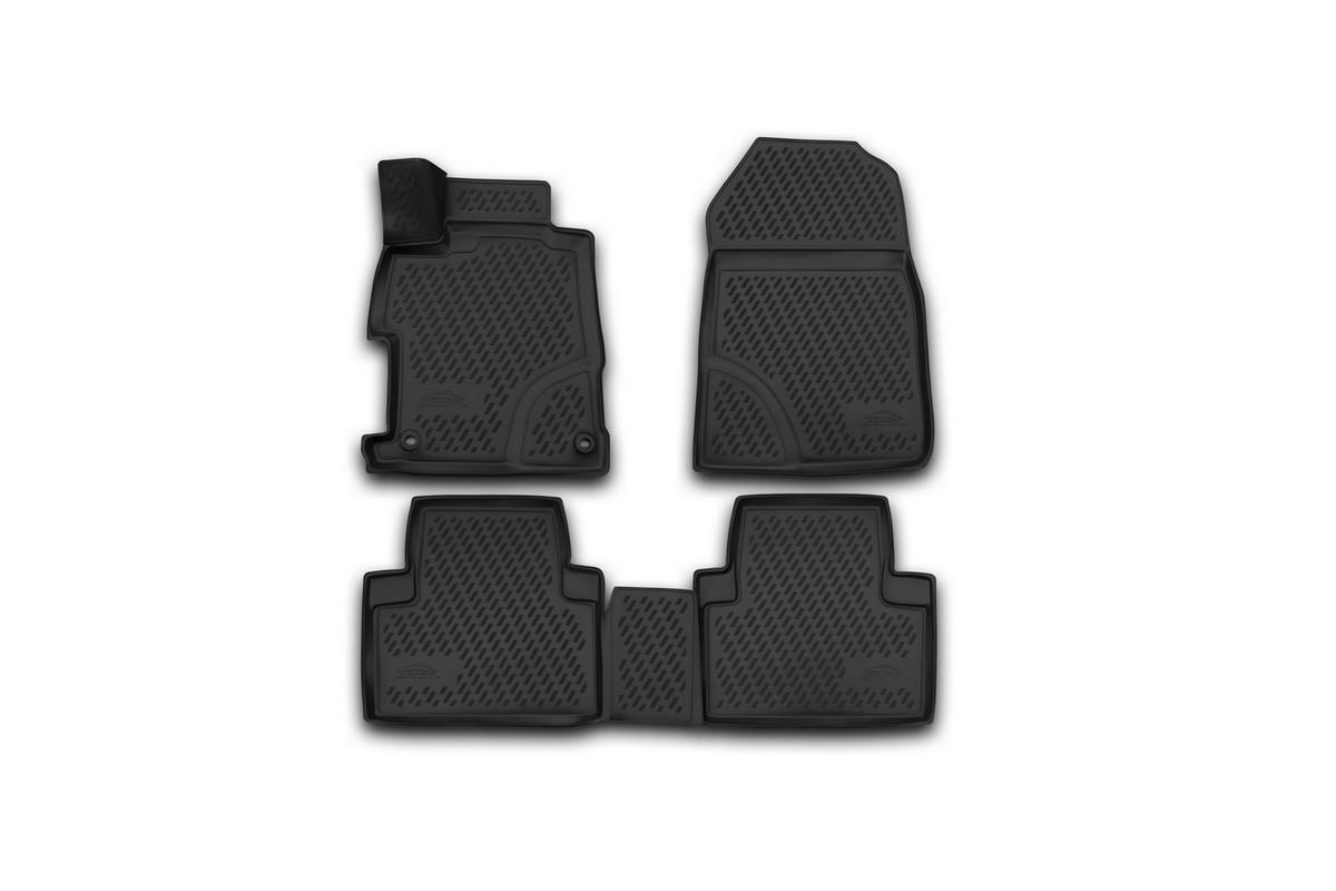 Набор автомобильных 3D-ковриков Novline-Autofamily для Honda Civic 4D, 2012->, седан, в салон, 4 штCARHND00011Набор Novline-Autofamily состоит из 4 ковриков, изготовленных из полиуретана. Основная функция ковров - защита салона автомобиля от загрязнения и влаги. Это достигается за счет высоких бортов, перемычки на тоннель заднего ряда сидений, элементов формы и текстуры, свойств материала, а также запатентованной технологией 3D-перемычки в зоне отдыха ноги водителя, что обеспечивает дополнительную защиту, сохраняя салон автомобиля в первозданном виде. Материал, из которого сделаны коврики, обладает антискользящими свойствами. Для фиксации ковров в салоне автомобиля в комплекте с ними используются специальные крепежи. Форма передней части водительского ковра, уходящая под педаль акселератора, исключает нештатное заедание педалей. Набор подходит для Honda Civic 4D с 2012 года выпуска.