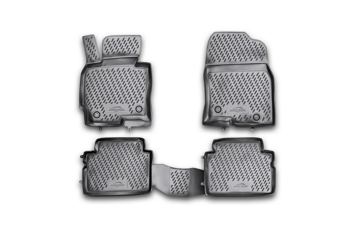 Коврики в салон автомобиля Novline-Autofamily для Mazda CX-5, 2011 -, 4 штCARMZD00023hКоврики Novline-Autofamily улучшат внешний вид салона автомобиля и надежно уберегут его от пыли, грязи и сырости, а значит, защитят кузов от коррозии. Полиуретановые коврики гладкие, приятные и не пропускает влагу. Полиуретановые автомобильные коврики произведены из высококачественного материала, который держит форму и не пачкает обувь. Коврики надежно крепятся на полу и не скользят, что очень важно во время движения, особенно для водителя. Изделия из полиуретана надежно удерживают грязь и влагу, при этом всегда выглядят довольно опрятно. И чистятся они очень просто: как при помощи автомобильного пылесоса, так и различными моющими средствами.