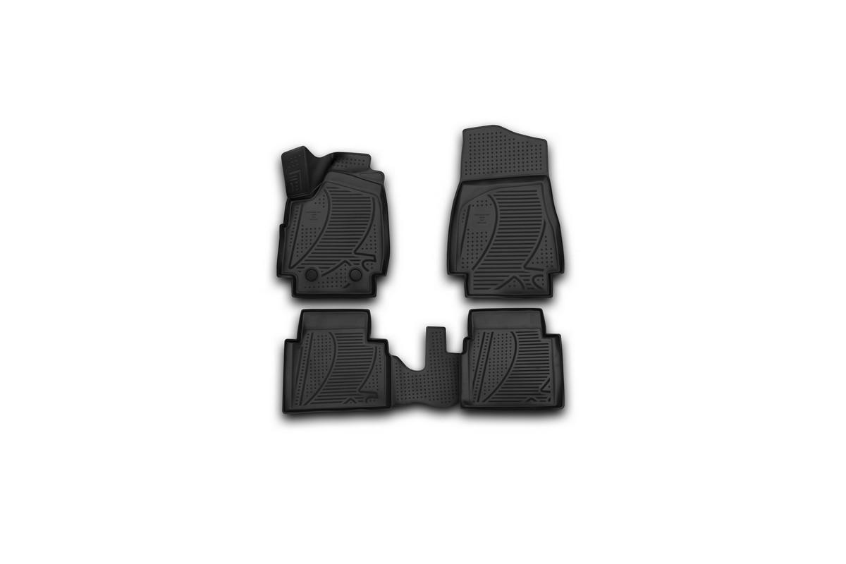 Набор автомобильных 3D-ковриков Novline-Autofamily для Lada 4x4 3D, 2009->, в салон, 4 штF320250E1Набор Novline-Autofamily состоит из 4 ковриков, изготовленных из полиуретана. Основная функция ковров - защита салона автомобиля от загрязнения и влаги. Это достигается за счет высоких бортов, перемычки на тоннель заднего ряда сидений, элементов формы и текстуры, свойств материала, а также запатентованной технологией 3D-перемычки в зоне отдыха ноги водителя, что обеспечивает дополнительную защиту, сохраняя салон автомобиля в первозданном виде. Материал, из которого сделаны коврики, обладает антискользящими свойствами. Для фиксации ковров в салоне автомобиля в комплекте с ними используются специальные крепежи. Форма передней части водительского ковра, уходящая под педаль акселератора, исключает нештатное заедание педалей. Набор подходит для Lada 4x4 3D с 2009 года выпуска.