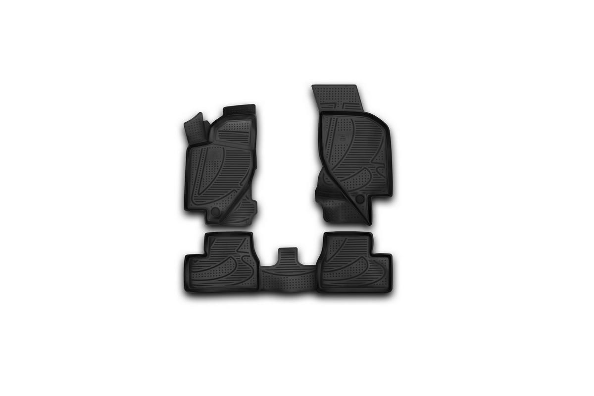 Набор автомобильных 3D-ковриков Novline-Autofamily для Lada Kalina, 2004->, в салон, 4 штF400250E1Набор Novline-Autofamily состоит из 4 ковриков, изготовленных из полиуретана. Основная функция ковров - защита салона автомобиля от загрязнения и влаги. Это достигается за счет высоких бортов, перемычки на тоннель заднего ряда сидений, элементов формы и текстуры, свойств материала, а также запатентованной технологией 3D-перемычки в зоне отдыха ноги водителя, что обеспечивает дополнительную защиту, сохраняя салон автомобиля в первозданном виде. Материал, из которого сделаны коврики, обладает антискользящими свойствами. Для фиксации ковров в салоне автомобиля в комплекте с ними используются специальные крепежи. Форма передней части водительского ковра, уходящая под педаль акселератора, исключает нештатное заедание педалей. Набор подходит для Lada Kalina с 2004 года выпуска.