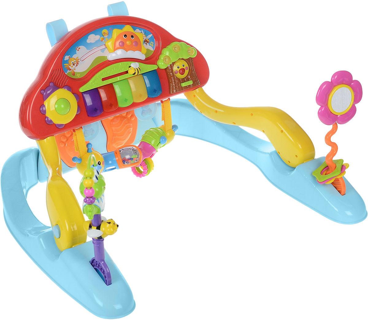 Joy Toy Развивающая игрушка Веселое пианино9476Развивающая игрушка Joy Toy Веселое пианино обязательно привлечет внимание вашего малыша. Игрушка выполнена из высококачественных нетоксичных материалов, абсолютно безопасных для ребенка. Игрушка представляет собой подставку с закрепленным на ней пластиковым корпусом детского пианино разных цветов и оснащена световыми и звуковыми эффектами. Игрушка может использоваться как в положении лежа, так и сидя. Когда звучит мелодия, солнышко радуется и начинает двигаться, как настоящее. На панели расположена пчелка, при ее движении ваш малыш услышит веселое жужжание. На цветке имеется безопасное зеркальце, в которое ребенок будет любоваться на себя. Если потянуть за гусеничку-погремушку, то можно услышать веселые мелодии. Развивающая игрушка Joy Toy Веселое пианино поможет малышу развить цветовое и звуковое восприятие, причинно-следственные связи, визуальные навыки, координацию, воображение и мелкую моторику рук. Необходимо купить 3 батарейки...
