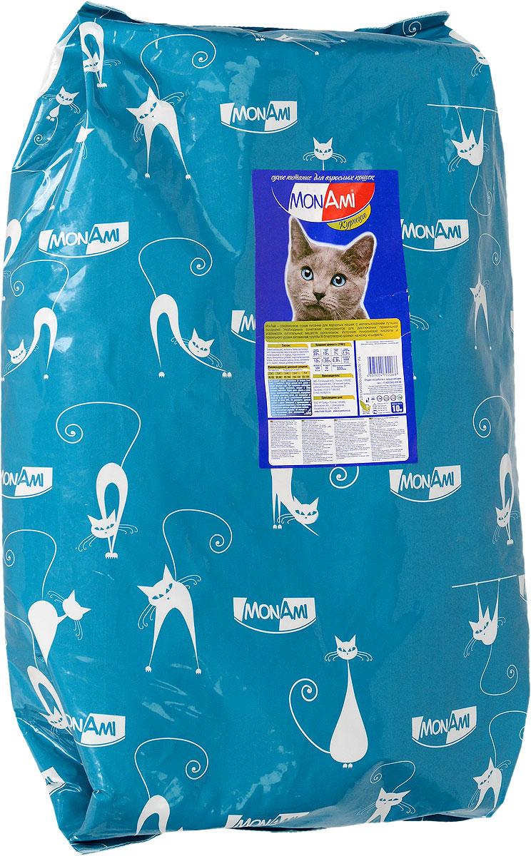 Корм сухой Mon Ami для взрослых кошек, с курицей, 10 кг. 1419514195_дизайн2Корм Mon Ami - это современное сухое питание для взрослых кошек с использованием лучших технологий. Особенности рациона: - необходимое сочетание ингредиентов для достижения правильной усвояемости питательных веществ организмом; - источник линолевой кислоты и правильного уровня витаминов группы B благотворно влияют на кожу и шерсть; - таурин - для здоровья глаз и сердца. Состав: злаки (пшеница, рис), экстракты белка растительного происхождения, мясо и мясопродукты животного происхождения (в том числе курица), подсолнечное масло, минеральные добавки, гидролизированная печень, пульпа сахарной свеклы (жом), витамины (в том числе таурин), пивные дрожжи, антиоксидант. Питательность: сырой протеин 30%, сырой жир 10%, сырая зола 7%, сырая клетчатка 2,5%, влажность 10%, кальций 1,05%, фосфор 0,9%, витамин A: 5000 ME/кг, витамин Д3: 500 МЕ/кг, витамин Е: 30 мг/кг. Энергетическая ценность: 333 ккал/100 г. Товар сертифицирован.
