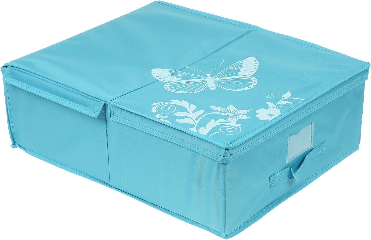 Кофр подкроватный Hausmann Butterfly, цвет: бирюзовый, 43 см х 54 см х 18 см4P-103-4С_бирюзовыйПодкроватный кофр для хранения Hausmann Butterfly поможет легко организовать пространство в шкафу или в гардеробе, компактные формы позволяют хранить его под кроватью. Изделие выполнено из нетканого материала и полиэстера с защитой от пыли. Кофр держит форму благодаря жесткой вставке из картона, которая устанавливается на дно. Изделие оформлено красивым принтом и изображением бабочки. Имеется ручка, крышка и прозрачный карман для пометки содержимого. В таком кофре удобно хранить одежду, текстиль и различные аксессуары.