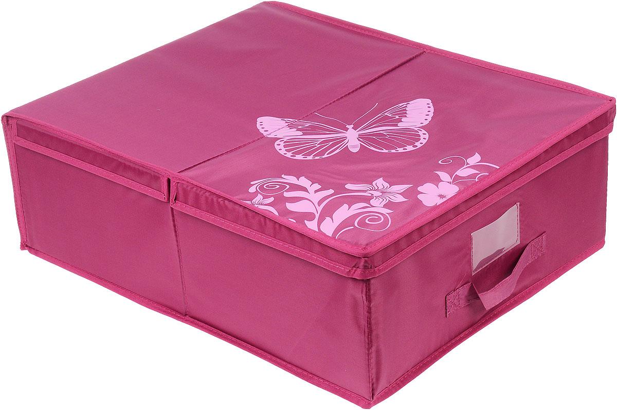 Кофр подкроватный Hausmann Butterfly, цвет: розовый, 43 х 54 х 18 см4P-103-4С_розовыйПодкроватный кофр для хранения Hausmann Butterfly поможет легко организовать пространство в шкафу или в гардеробе, компактные формы позволяют хранить его под кроватью. Изделие выполнено из нетканого материала и полиэстера с защитой от пыли. Кофр держит форму благодаря жесткой вставке из картона, которая устанавливается на дно. Изделие оформлено красивым принтом и изображением бабочки. Имеется ручка, крышка и прозрачный карман для пометки содержимого. В таком кофре удобно хранить одежду, текстиль и различные аксессуары.
