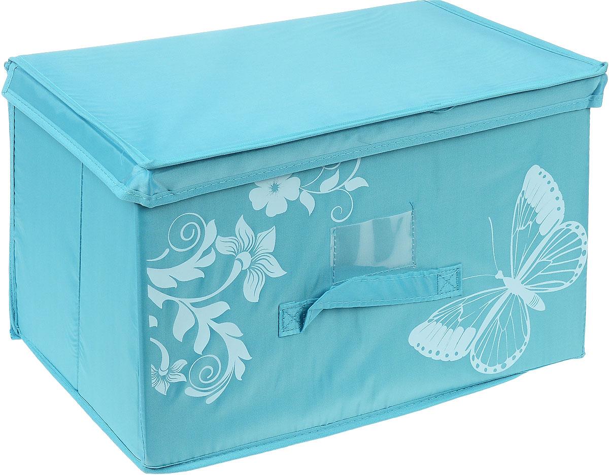 Коробка для хранения Hausmann Butterfly, цвет: бирюзовый, 43 см х 27 см х 27 см4P-102-4C_бирюзовыйКоробка для хранения Hausmann поможет легко организовать пространство в шкафу или в гардеробе. Изделие выполнено из нетканого материала и полиэстера с защитой от пыли. Коробка держит форму благодаря жесткой вставке из картона, которая устанавливается на дно. Боковая поверхность оформлена красивым принтом и изображением бабочки. Имеется ручка, крышка и прозрачный карман для пометки содержимого. В такой коробке удобно хранить одежду, текстиль, нижнее белье и различные аксессуары. Может быть использована как выдвижной ящик.