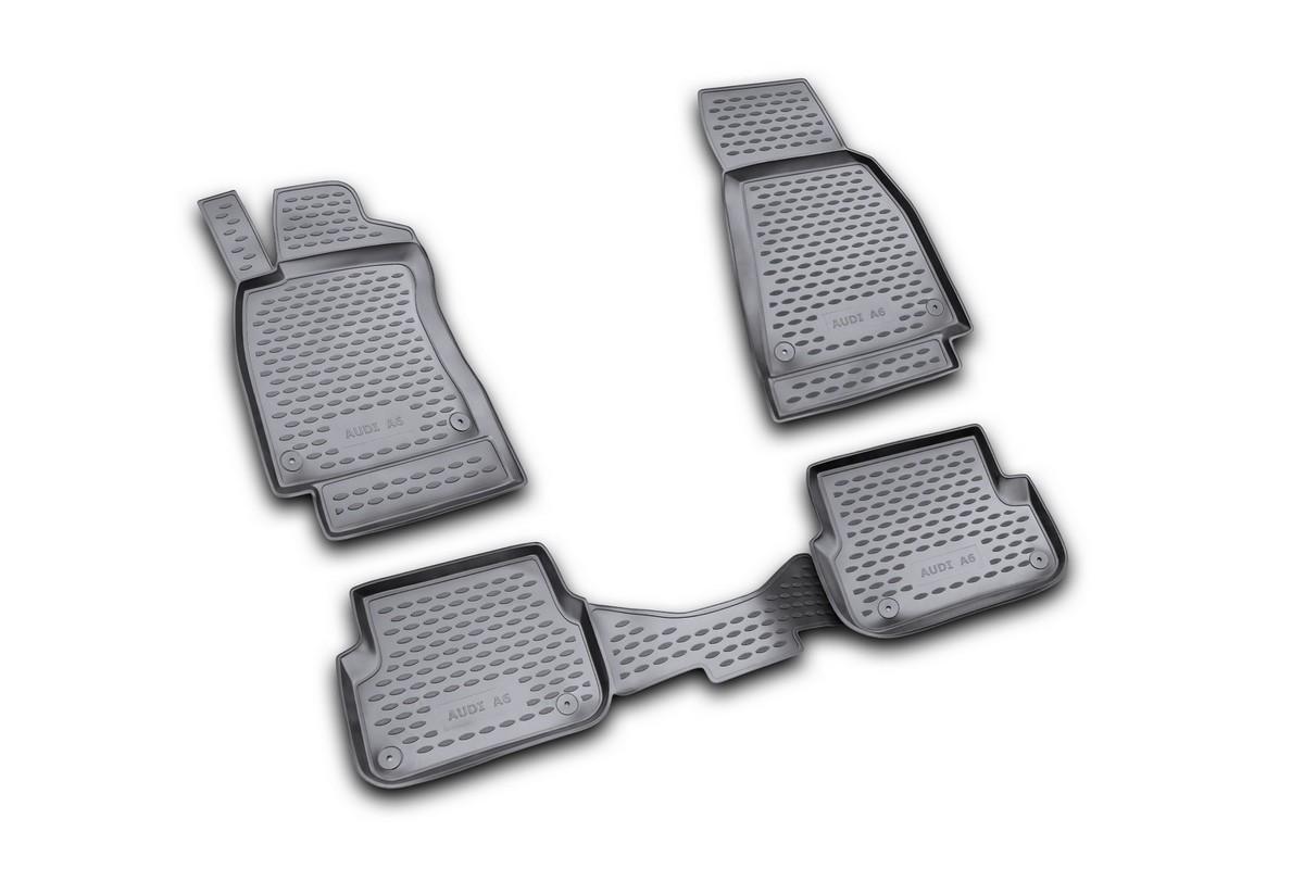 Набор автомобильных ковриков Novline-Autofamily для Audi A-6 2004-2/2005, 3/2006-2011, в салон, цвет: черный, 4 штNLC.04.08.210Набор автомобильных ковриков Novline-Autofamily, изготовленный из полиуретана, состоит из 4 ковриков, которые учитывают все особенности каждой модели автомобиля и полностью повторяют контуры пола. Полиуретановые автомобильные коврики для салона произведены из высококачественного материала, который держит форму, прочный и не пачкает обувь. Коврики в салон не только улучшат внешний вид салона вашего автомобиля, но и надежно уберегут его от пыли, грязи и сырости, а значит, защитят кузов от коррозии. Полиуретановые коврики для автомобиля гладкие, приятные и не пропускают влагу. Ковры для автомобилей надежно крепятся на полу и не скользят, что очень важно во время движения. Чистятся коврики очень просто: как при помощи автомобильного пылесоса, так и различными моющими средствами. Набор подходит для Audi A-6 2004 - февраль 2005, март 2006 - 2011 годов выпуска.