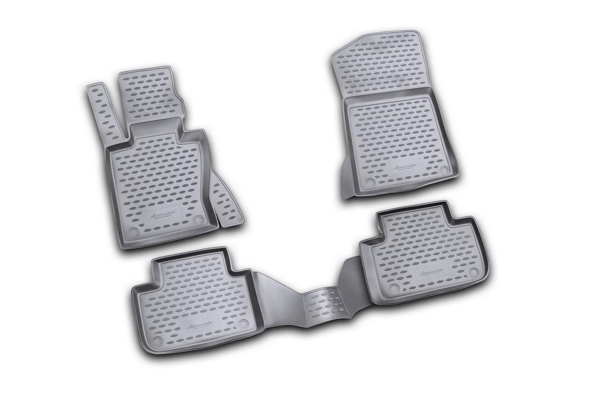Набор автомобильных ковриков Novline-Autofamily для BMW X3 2008-, в салон, цвет: черный, 4 штNLC.05.16.210Набор автомобильных ковриков Novline-Autofamily, изготовленный из полиуретана, состоит из 4 ковриков, которые учитывают все особенности каждой модели автомобиля и полностью повторяют контуры пола. Полиуретановые автомобильные коврики для салона произведены из высококачественного материала, который держит форму, прочный и не пачкает обувь. Коврики в салон не только улучшат внешний вид салона вашего автомобиля, но и надежно уберегут его от пыли, грязи и сырости, а значит, защитят кузов от коррозии. Полиуретановые коврики для автомобиля гладкие, приятные и не пропускают влагу. Ковры для автомобилей надежно крепятся на полу и не скользят, что очень важно во время движения. Чистятся коврики очень просто: как при помощи автомобильного пылесоса, так и различными моющими средствами. Набор подходит для BMW X3 с 2008 года выпуска.
